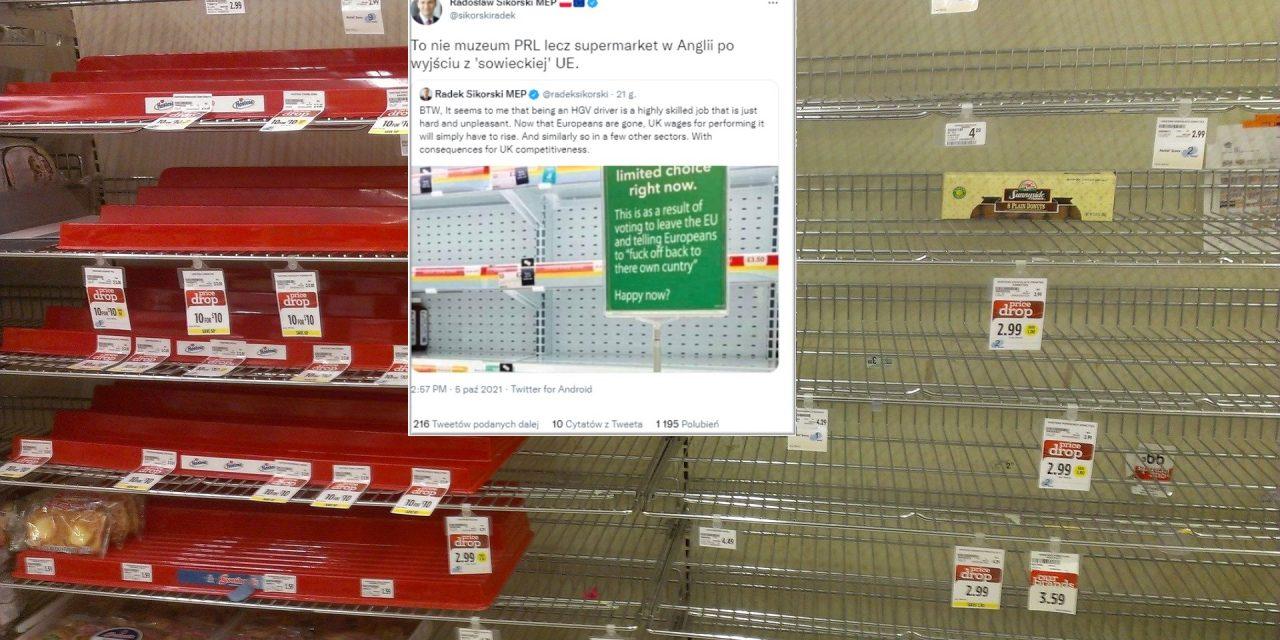 Nie, tabliczka wsklepie nieinformowała, żepuste półki toskutek brexitu. Znany polityk udostępnił fake newsa